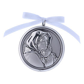Medalla para cuna redonda Virgen Ferruzzi cinta blanca s1