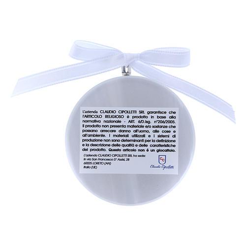 Medalla para cuna redonda Virgen Ferruzzi cinta blanca 2