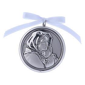 Medalhões e Medalhas para Berço: Medalhão berço redondo Madoninha Ferruzzi fita branca