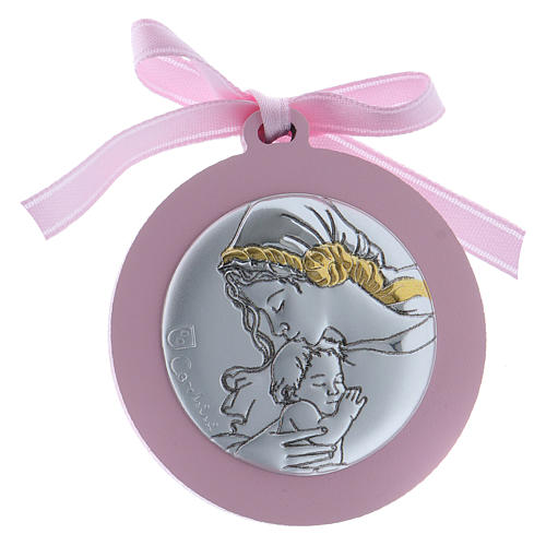 Image berceau Vierge Enfant bi-laminé finitions or ruban rose 1