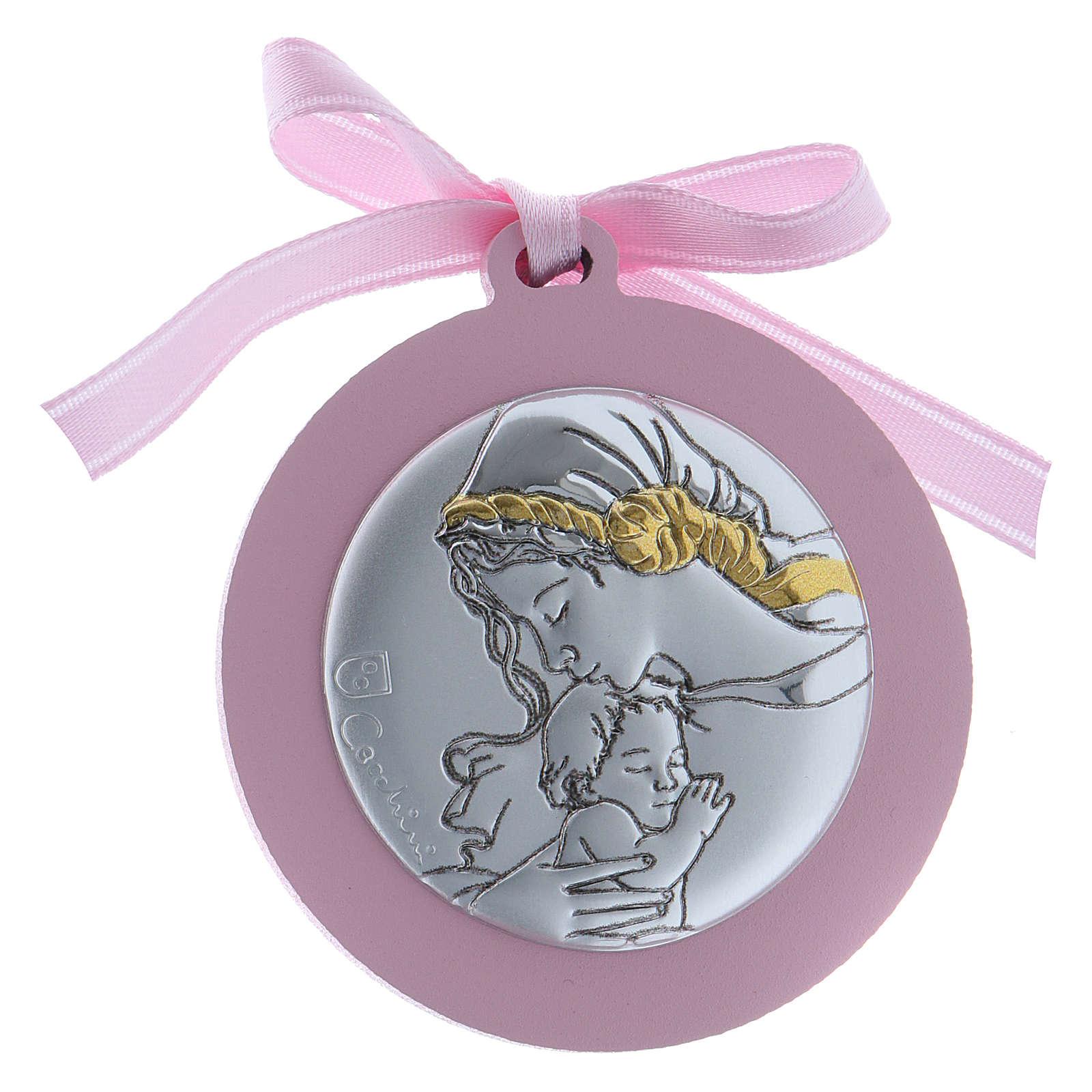 Obrazek nad kołyskę Madonna z Dzieciątkiem bilaminat wykończenie złote wstążka różowa 4