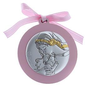 Medalhão berço Virgem Menino bilaminado detalhes ouro fita cor-de-rosa s1