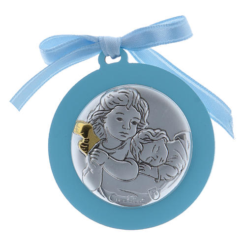Medalla para cuna Ángeles cinta azul bilaminado detalles oro 1