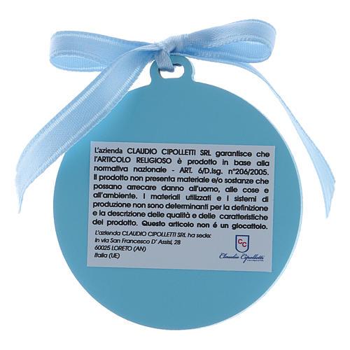 Medalla para cuna Ángeles cinta azul bilaminado detalles oro 2