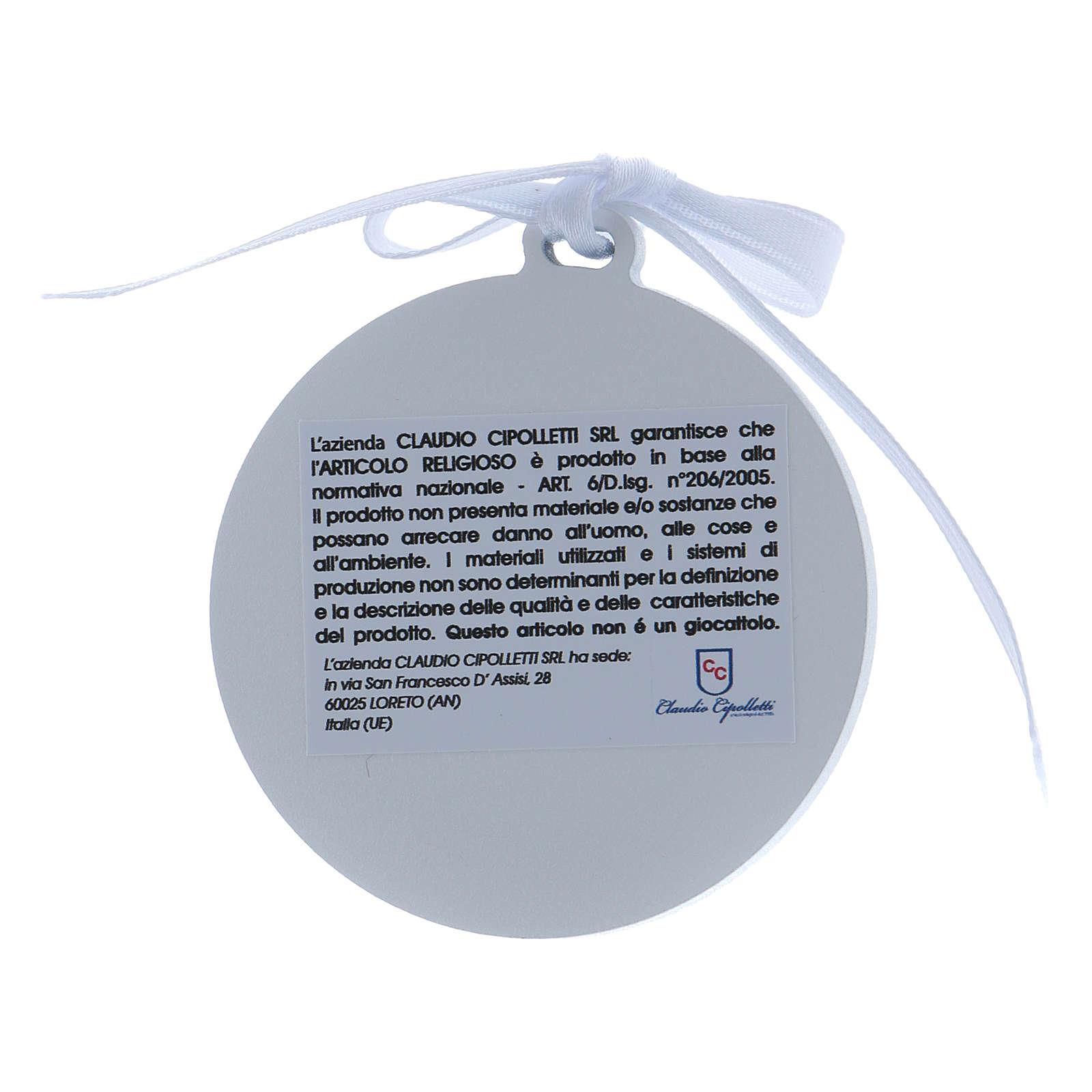 Medalla para cuna Ángeles cinta blanca bilaminado detalles oro 4