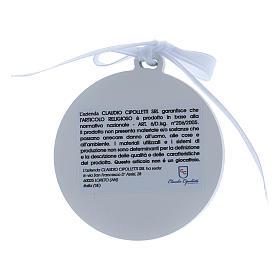 Medalla para cuna Ángeles cinta blanca bilaminado detalles oro s2