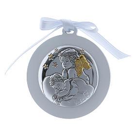 Medalhões e Medalhas para Berço: Medalhão berço Anjo estrelas fita branca bilaminado detalhes ouro