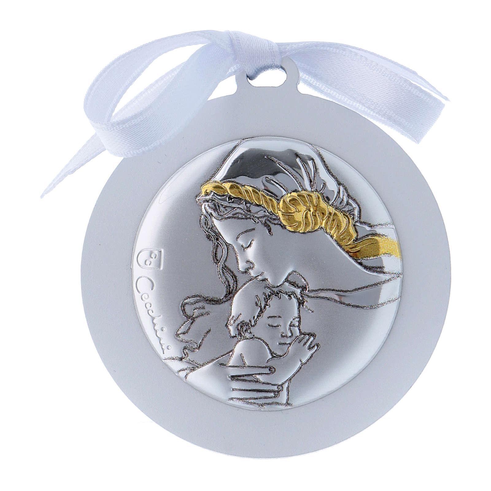Medalla para cuna cinta blanca Virgen Niño bilaminado detalles oro 4 cm 4