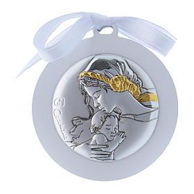 Medalla para cuna cinta blanca Virgen Niño bilaminado detalles oro 4 cm s1