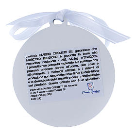 Medalla para cuna cinta blanca Virgen Niño bilaminado detalles oro 4 cm s2