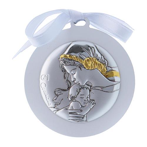 Medalla para cuna cinta blanca Virgen Niño bilaminado detalles oro 4 cm 1