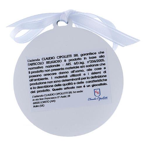 Medalla para cuna cinta blanca Virgen Niño bilaminado detalles oro 4 cm 2