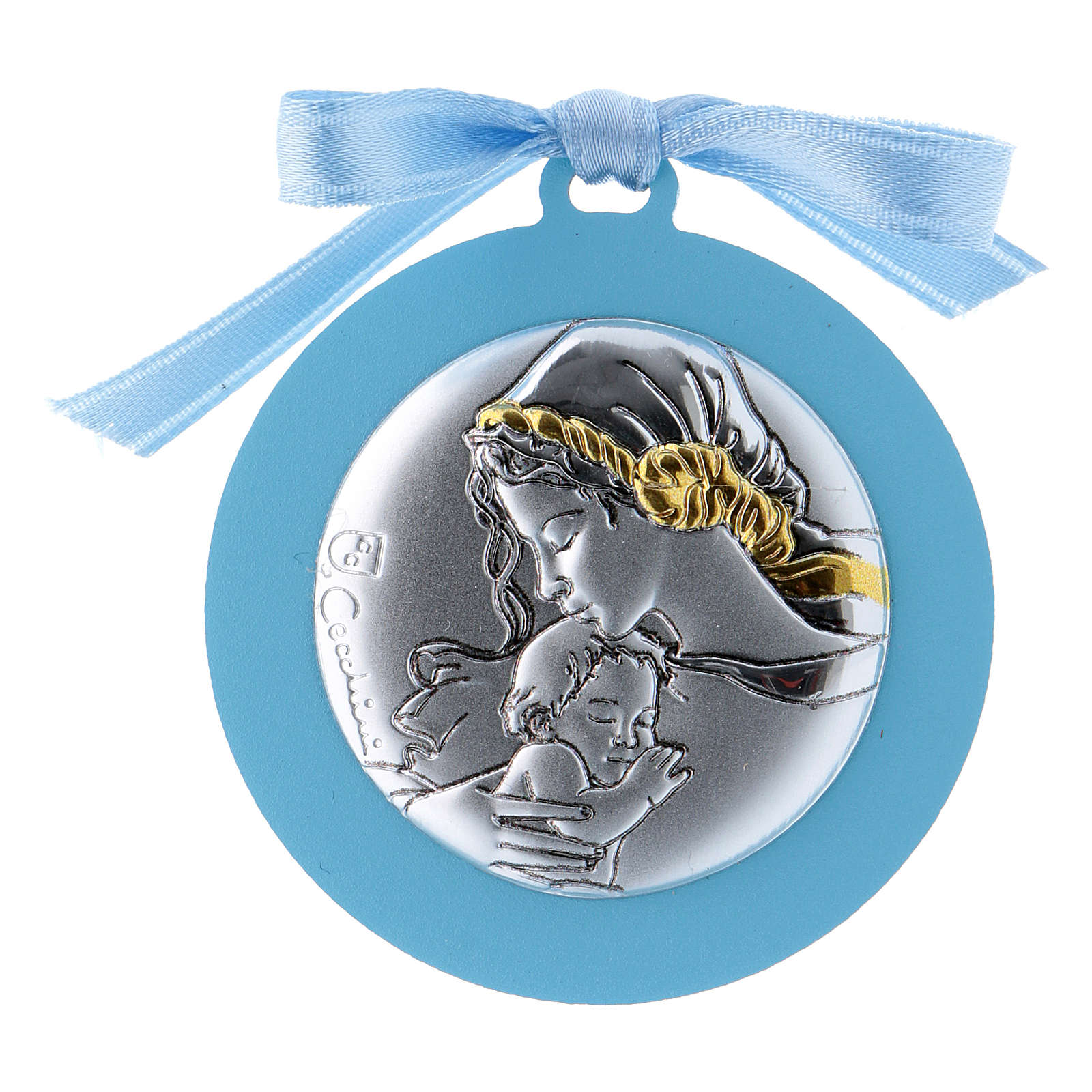 Medalla para cuna de bilaminado Virgen Niño detalles oro cinta azul 4 cm 4