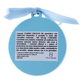Medalla para cuna de bilaminado Virgen Niño detalles oro cinta azul 4 cm s2