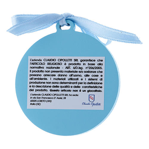 Medalla para cuna de bilaminado Virgen Niño detalles oro cinta azul 4 cm 2