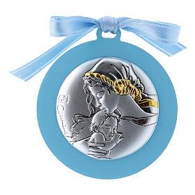 Sopraculla in bilaminato Madonna Bambino finiture oro nastro azzurro 4 cm s1