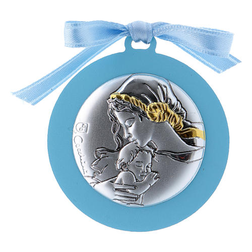 Baby crib mobile Our Lady with Baby Jesus with light blue ribbon in double layer wood finished in gold 4 cm 1