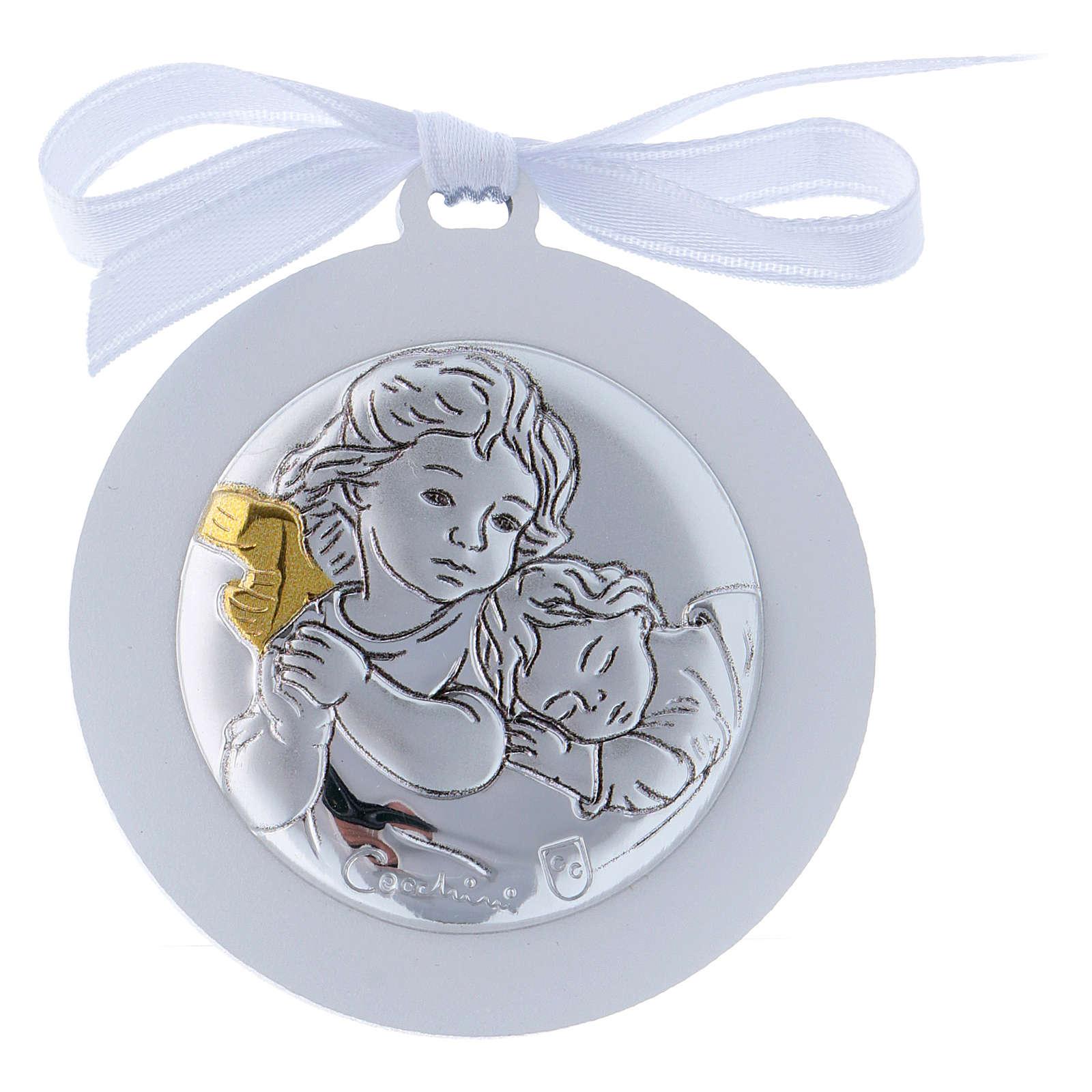 Sopraculla Angeli in bilaminato nastro bianco finiture oro 4 cm 4