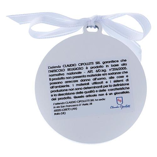 Sopraculla Angeli in bilaminato nastro bianco finiture oro 4 cm 2