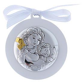 Medalhões e Medalhas para Berço: Medalhão berço Anjo em bilaminado fita branca detalhes ouro 4 cm