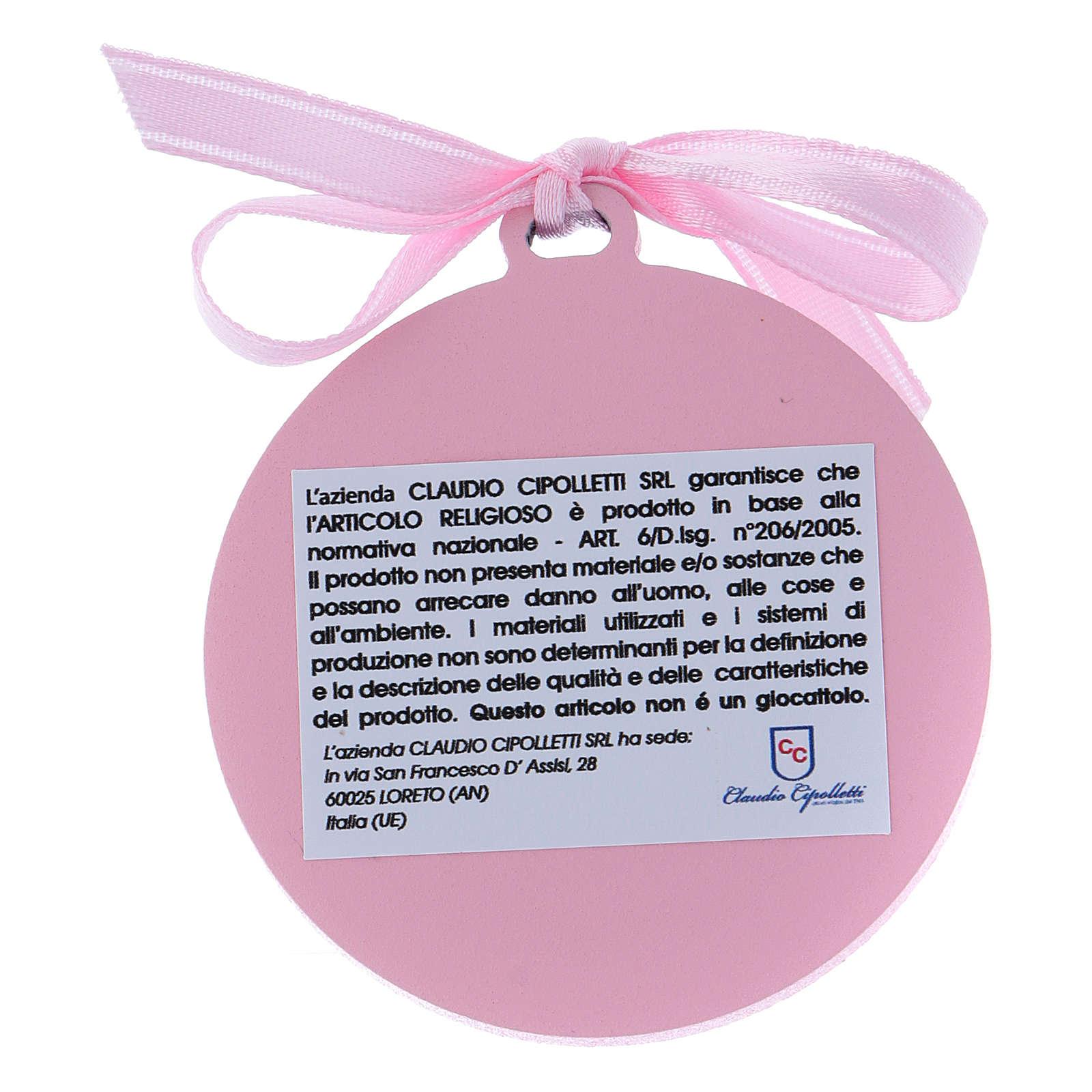 Medalla para cuna rosa Ángeles bilaminado detalles oro 4 cm 4