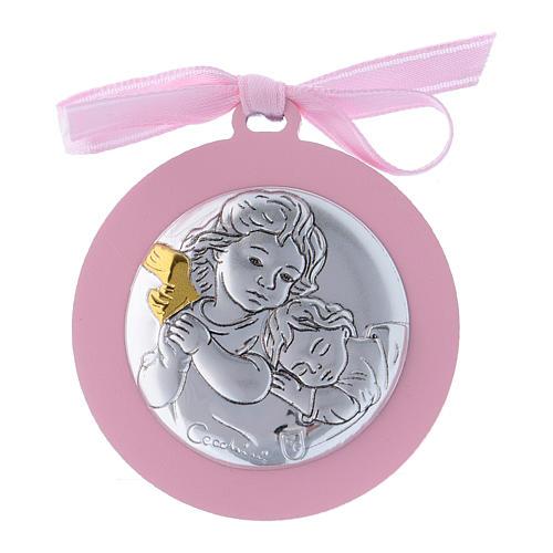 Medalla para cuna rosa Ángeles bilaminado detalles oro 4 cm 1