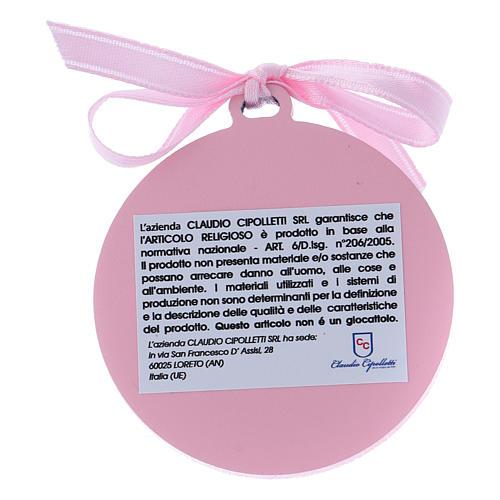 Medalla para cuna rosa Ángeles bilaminado detalles oro 4 cm 2