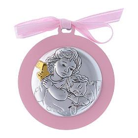 Medalhões e Medalhas para Berço: Medalhão berço fita cor-de-rosa Anjo em bilaminado detalhes ouro 4 cm