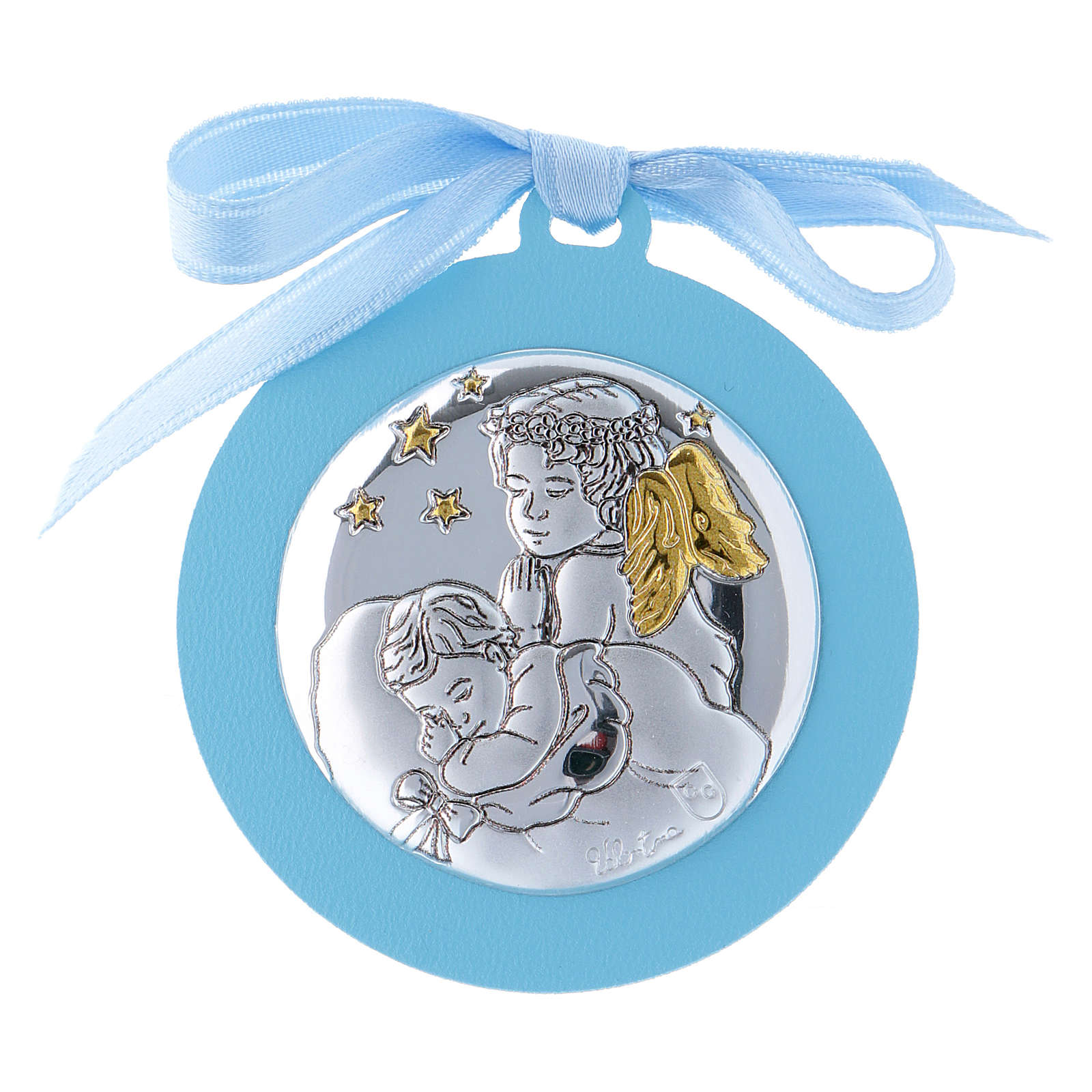 Medalla para cuna Ángeles con estrellas cinta azul bilaminado detalles oro 4 cm 4