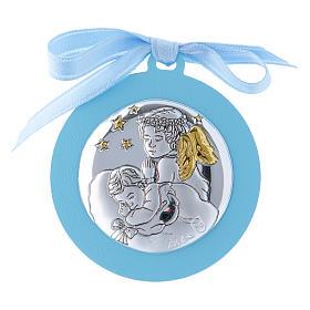 Medalla para cuna Ángeles con estrellas cinta azul bilaminado detalles oro 4 cm s1