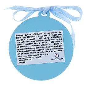 Medalla para cuna Ángeles con estrellas cinta azul bilaminado detalles oro 4 cm s2