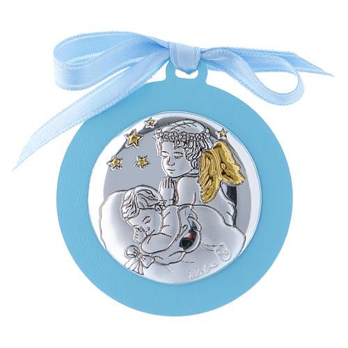 Medalla para cuna Ángeles con estrellas cinta azul bilaminado detalles oro 4 cm 1