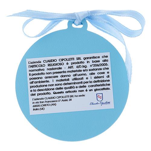 Medalla para cuna Ángeles con estrellas cinta azul bilaminado detalles oro 4 cm 2