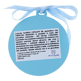 Sopraculla Angeli con stelle nastro azzurro bilaminato finiture oro 4 cm s2