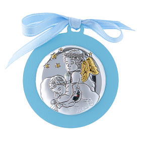 Baby crib mobile with angels and stars light blue in double layer wood finished in gold 4 cm s1