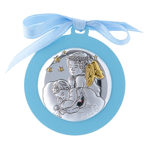 Baby crib mobile with angels and stars light blue in double layer wood finished in gold 4 cm 1