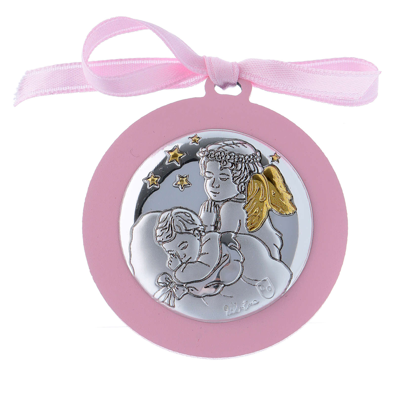 Sopraculla nastro rosa Angeli con stelle  bilaminato finiture oro 4 cm 4