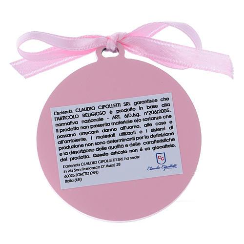 Sopraculla nastro rosa Angeli con stelle  bilaminato finiture oro 4 cm 2