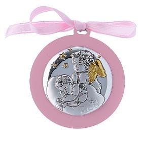 Medalhões e Medalhas para Berço: Medalhão berço fita cor-de-rosa Anjo com estrelas bilaminado detalhes ouro 4 cm