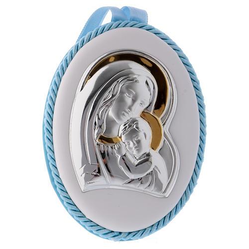 Medalla para cuna azul con Virgen y Niño, carillón 1