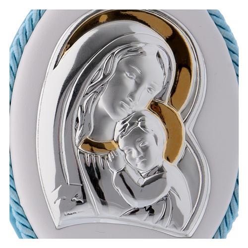Medalla para cuna azul con Virgen y Niño, carillón 2