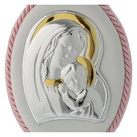 Medalla para cuna rosa imagen Virgen y Niño, carillón s2