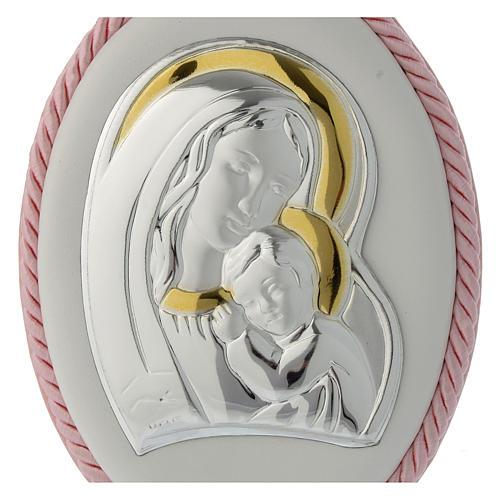 Medalla para cuna rosa imagen Virgen y Niño, carillón 2