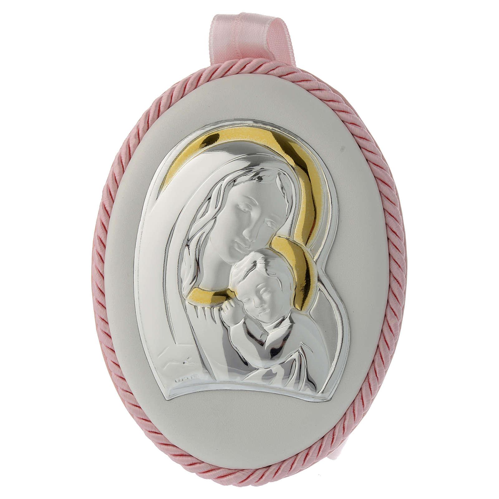 Capoculla rosa immagine Madonna e Bambino, carillon 4