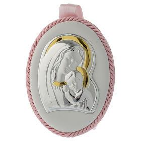 Medalhões e Medalhas para Berço: Medalhão cor-de-rosa com Virgem e Menino caixa de música