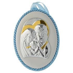 Medalhões e Medalhas para Berço: Medalha de berço azul Sagrada Família e caixa de música
