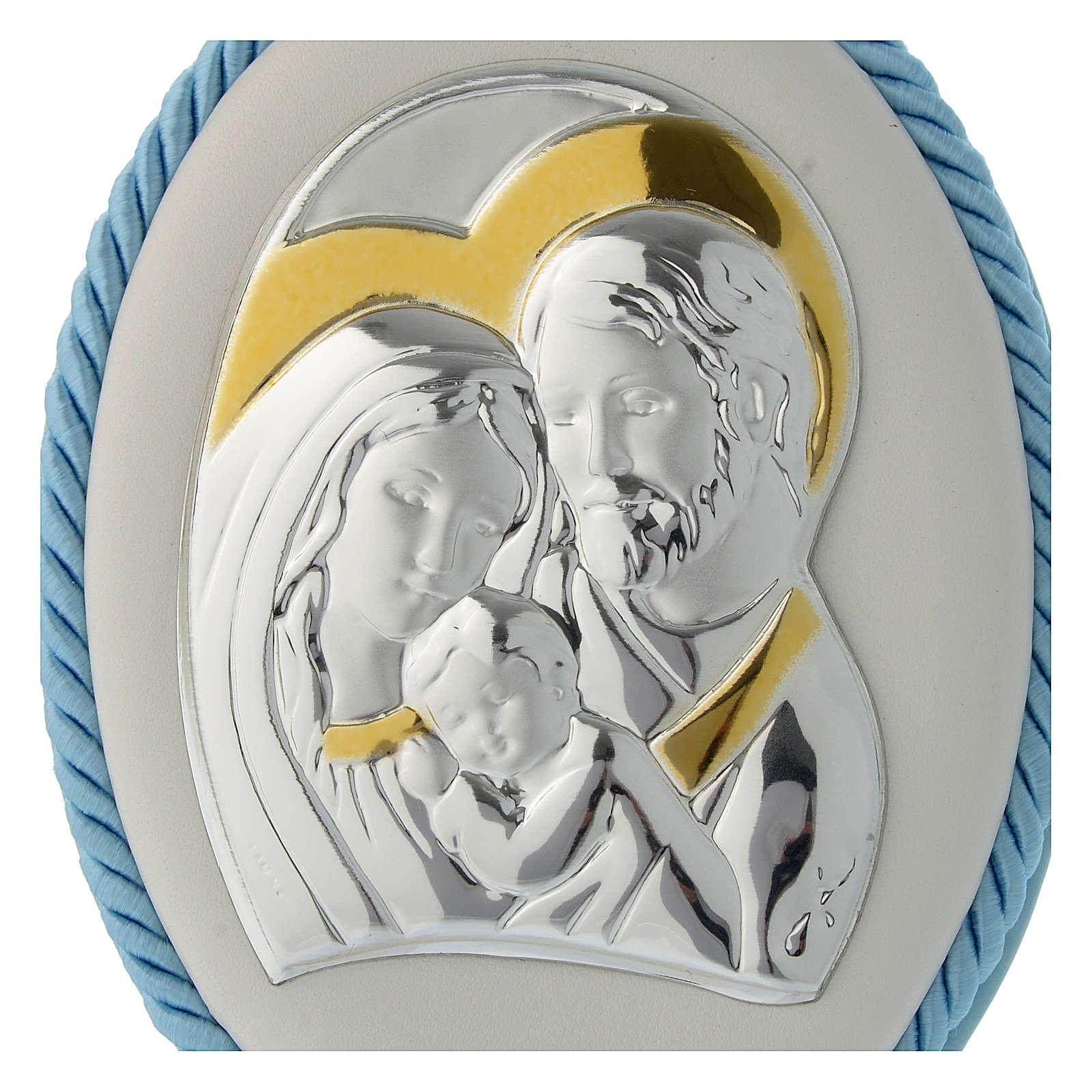 Cradle decoration light blue with Holy Family image and musical box 4