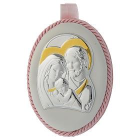 Medalhões e Medalhas para Berço: Medalha de berço cor-de-rosa Sagrada Família e caixa de música