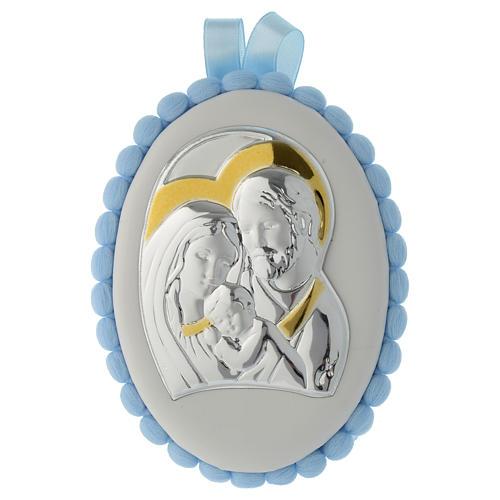 Medalla para cuna pompón celeste Sagrada Familia y Carillón 1