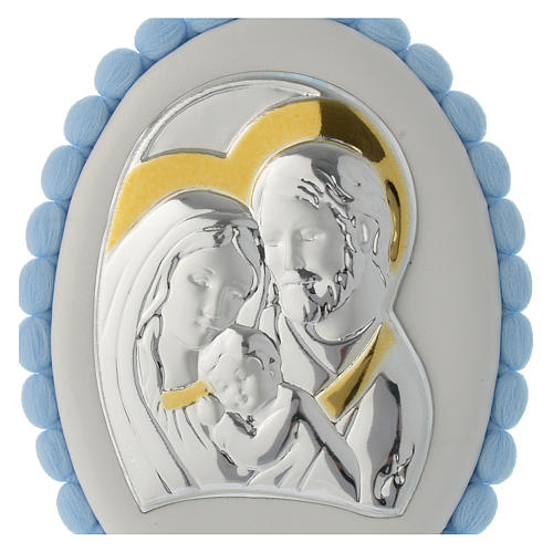 Cradle decoration Holy Family with pom pom and musical box 2